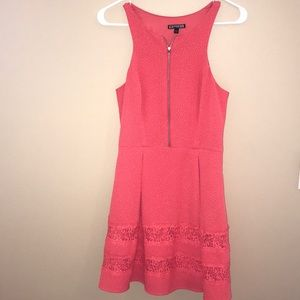 Express Coral Zipper Dress